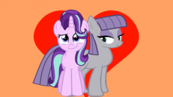 Size: 1366x768 | Tagged: safe, artist:kuren247, artist:viejillox64art, edit, screencap, maud pie, starlight glimmer, pony, rock solid friendship, female, lesbian, shipping, smiling, starmaud, when she smiles