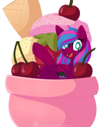 Size: 1929x2336 | Tagged: artist:pearlyiridescence, bat pony, cherry, cup, cup of pony, female, food, fruit, ice cream, micro, oc, oc only, oc:spanking shade, open mouth, pony, safe, smiling, solo, strawberry, sundae, underhoof