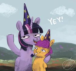 Size: 1035x973 | Tagged: safe, artist:toisanemoif, scootaloo, twilight sparkle, alicorn, pony, birthday, hat, party hat, party horn, twilight sparkle (alicorn)
