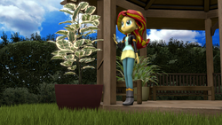 Size: 1920x1080 | Tagged: safe, artist:gbrushandpaint, sunset shimmer, equestria girls, 3d, boots, clothes, garden, high heel boots, jacket, leather jacket, looking at something, looking up, pants, solo
