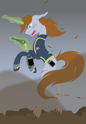 Size: 1498x2160   Tagged: safe, artist:copperirisart, oc, oc only, oc:littlepip, pony, unicorn, fallout equestria, bipedal, blood, bullet, clothes, fanfic, fanfic art, female, glowing horn, gun, handgun, little macintosh, magic, mare, pipbuck, revolver, solo, telekinesis, torn clothes, vault suit, wasteland, weapon