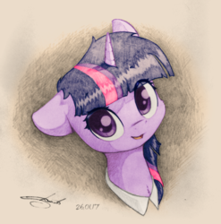 Size: 1024x1035 | Tagged: safe, artist:freeedon, artist:longren, color edit, edit, twilight sparkle, pony, bust, colored, cute, featured image, female, floppy ears, fluffy, looking at you, mare, open mouth, portrait, smiling, solo, traditional art, twiabetes