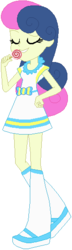 Size: 157x548 | Tagged: safe, artist:ra1nb0wk1tty, bon bon, sweetie drops, equestria girls, candy, clothes, eyes closed, food, hand on hip, lollipop, raised leg, shoes, simple background, socks, solo, white background
