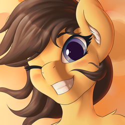 Size: 1280x1280 | Tagged: safe, artist:mricantdraw, oc, oc only, oc:heartmend, pony, bust, ear fluff, explicit source, eyelashes, one eye closed, portrait, smiling, solo, wink