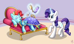 Size: 1023x614 | Tagged: safe, artist:kiarawizard01, rainbow dash, rarity, pony, alternate hairstyle, and then there's rarity, clothes, cute, dress, dressup, fabulous, makeover, prank, pretty, rainbow dash always dresses in style, rainbow fash, raribetes, slumber party, this will end fabulously, this will end in tears and/or death