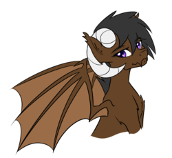 Size: 887x813 | Tagged: safe, artist:muggyheatwave, oc, oc only, oc:onyx quill, dracony, hybrid, kirin, bust, horns, portrait, simple background, solo, white background, wings
