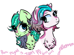 Size: 1599x1198   Tagged: safe, artist:cysd16, oc, oc only, earth pony, pony, blue eyes, blushing, chest fluff, curly hair, curly mane, friendship, gift art, green coat, looking down, message, multicolored hair, pink coat, shy, smiling