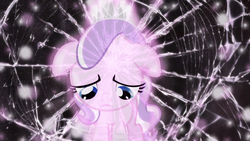 Size: 1600x900 | Tagged: artist:nimbustheponi, artist:sailortrekkie92, broken glass, cracked, crown, diamond tiara, feels bad man, floppy ears, jewelry, pony, regalia, sad, safe, solo, vector, wallpaper