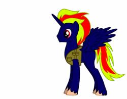Size: 830x650   Tagged: safe, oc, oc only, oc:whitelightning, alicorn, pony, alicorn oc, donut steel, male, military, military uniform, missing cutie mark, self insert, solo, stallion, youtube