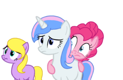 Size: 1024x673 | Tagged: safe, artist:fluttershyarabic, pinkie pie, oc, oc:flutter skies, oc:princess paradise, pony, missing accessory, missing cutie mark, simple background, transparent background