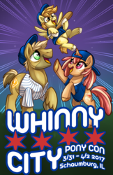 Size: 1024x1583 | Tagged: safe, artist:sciggles, oc, oc only, earth pony, pegasus, pony, unicorn, baseball, baseball bat, clothes, colt, cute, female, happy, hat, looking up, male, mare, ocbetes, open mouth, raised hoof, rearing, shirt, smiling, stallion, trio, whinnycitycon