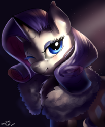 Size: 4080x4920 | Tagged: safe, artist:mrscurlystyles, rarity, pony, unicorn, absurd resolution, bust, clothes, eyeshadow, featured image, female, gift art, looking at you, makeup, mare, one eye closed, portrait, smiling, solo, wink