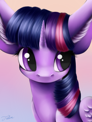 Size: 1200x1600 | Tagged: safe, artist:faline-art, twilight sparkle, alicorn, pony, big ears, bust, female, impossibly large ears, mare, portrait, solo, twilight sparkle (alicorn)