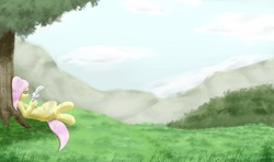 Size: 3750x2223 | Tagged: safe, artist:fauzart, angel bunny, fluttershy, pegasus, pony, duo, holding, hoof hold, looking at something, lying down, on back, scenery, tree, under the tree