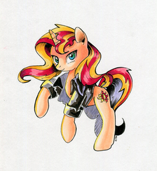 Size: 700x764   Tagged: safe, artist:maytee, sunset shimmer, pony, unicorn, clothes, female, jacket, looking at you, markers, rearing, smiling, solo, traditional art