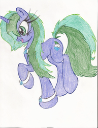 Size: 1700x2200 | Tagged: safe, artist:wyren367, oc, oc only, oc:marina, pony, unicorn, colored pencil drawing, female, happy, jewelry, simple background, solo, traditional art, white background