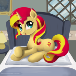 Size: 600x600 | Tagged: safe, artist:piripaints, sunset shimmer, pony, unicorn, bed, cute, female, lamp, looking at you, mare, open mouth, pillow, prone, shimmerbetes, smiling, solo, window