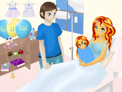Size: 8000x6000 | Tagged: safe, artist:cynthiaevans, sunset shimmer, oc, human, equestria girls, absurd resolution, baby, canon x oc, crying, female, male, offspring, parent:sunset shimmer, parent:unnamed oc, parents:canon x oc, straight, tears of joy