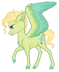 Size: 1024x1228 | Tagged: artist:loryska, magical gay spawn, oc, oc:bastion, oc only, offspring, parents:trenderbreeze, parent:trenderhoof, parent:zephyr breeze, pegasus, pony, raised hoof, safe, simple background, solo, white background