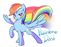 Size: 900x700   Tagged: safe, artist:haden-2375, rainbow dash, pegasus, pony, backwards cutie mark, female, lidded eyes, looking at you, mare, raised hoof, simple background, smiling, solo, spread wings, white background, wings