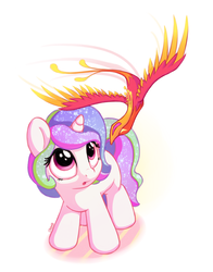 Size: 1100x1400 | Tagged: safe, artist:bobdude0, philomena, princess celestia, phoenix, pony, unicorn, cewestia, cute, cutelestia, duo, female, filly, filly celestia, foal, hnnng, looking up, master and pet, missing accessory, multicolored mane, multicolored tail, open mouth, pet, race swap, simple background, sparkles, too cute, unicorn celestia, younger