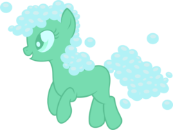 Size: 1491x1122 | Tagged: safe, artist:badumsquish, derpibooru exclusive, oc, oc only, oc:zesty suds, object pony, original species, pony, soap pony, bubble, female, happy, open mouth, ponified, simple background, smiling, solo, transparent background