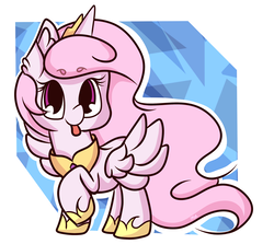 Size: 2551x2271 | Tagged: safe, artist:hedgehog-plant, princess celestia, alicorn, pony, abstract background, cewestia, crown, cute, cutelestia, female, filly, jewelry, looking at you, peytral, pink-mane celestia, raised hoof, regalia, sillestia, silly, solo, spread wings, tongue out, wings, younger