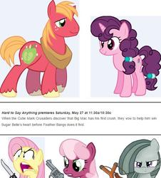 Size: 663x734 | Tagged: safe, big macintosh, cheerilee, feather bangs, fluttershy, marble pie, sugar belle, earth pony, pony, hard to say anything, angry, big macintosh gets all the mares, cheerimac, female, fluttermac, gun, jealous, knife, male, marblemac, meme, shipping, shipping war, slingshot, stallion, straight, sugarmac, weapon, well shit