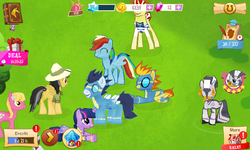 Size: 800x480 | Tagged: safe, screencap, daring do, flim, lily, lily valley, rainbow dash, soarin', spitfire, twilight sparkle, zecora, pony, zebra, gameloft, vip