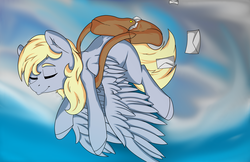 Size: 5950x3850   Tagged: safe, artist:lula-moonarts, derpy hooves, pegasus, pony, absurd resolution, eyes closed, female, flying, mail, mailbag, mailmare, mare, sky, smiling, solo