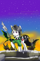 Size: 1000x1500   Tagged: safe, artist:jbcblanks, oc, oc only, earth pony, pony, timber wolf, soft shading, spear, stars, weapon