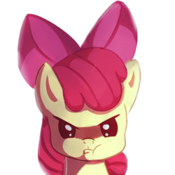 Size: 431x431   Tagged: safe, artist:oddciders, edit, apple bloom, earth pony, pony, :t, adorabloom, bust, cropped, cute, grumpy, looking at you, portrait, pouting, simple background, solo, transparent background