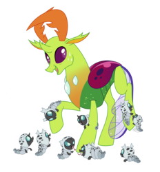 Size: 2018x2170   Tagged: safe, artist:bakufoon, thorax, changedling, changeling, changeling larva, changeling king, cute, king thorax, larva, nervous, papa thorax, simple background, sweat, thorabetes, transparent background