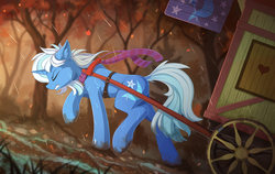 Size: 2300x1450 | Tagged: safe, artist:yakovlev-vad, trixie, pony, unicorn, caravan, cart, clothes, dock, ear fluff, eyes closed, female, gritted teeth, harness, mare, mud, pulling, rain, raised hoof, scarf, solo, tack, trixie's wagon, wagon