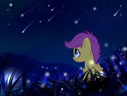 Size: 3700x2800 | Tagged: safe, artist:rutkotka, scootaloo, firefly (insect), pegasus, pony, cute, cutealoo, featured image, female, filly, grass, looking up, night, scenery, scenery porn, shooting star, smiling, solo, starry night, stars