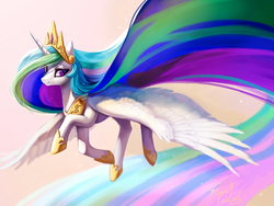 Size: 1500x1125   Tagged: safe, artist:rocy canvas, princess celestia, alicorn, pony, female, flying, long mane, long tail, pixiv, simple background, solo
