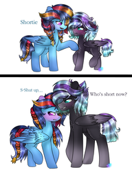 Size: 1024x1336 | Tagged: artist:northlights8, blushing, colt, female, filly, male, mare, oc, oc:brisk dawn, oc only, oc:tanzanite, offspring, parent:rainbow dash, parent:rarity, parent:soarin', parents:rarilane, parents:soarindash, parent:thunderlane, pegasus, pony, safe, simple background, stallion, time skip, white background