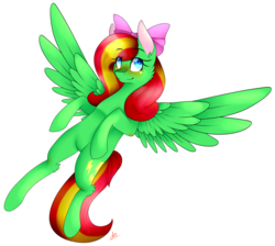 Size: 2088x1870 | Tagged: safe, artist:alithecat1989, oc, oc only, oc:lightning strike, pegasus, pony, bow, female, hair bow, mare, simple background, solo, spread wings, transparent background, wings