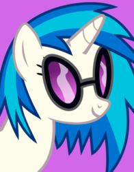 Size: 434x554   Tagged: safe, dj pon-3, vinyl scratch, pony, unicorn, purple background, simple background, smiling, solo, sunglasses