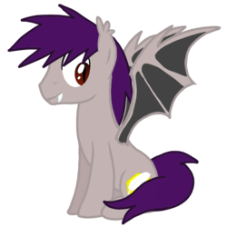Size: 1000x1000 | Tagged: safe, artist:toyminator900, oc, oc only, oc:coldfire (bat pony), bat pony, pony, fangs, simple background, sitting, solo, transparent background