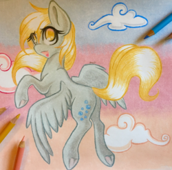Size: 2893x2874 | Tagged: safe, artist:emberslament, derpy hooves, pegasus, pony, colored pencil drawing, colored pencils, female, flying, high res, mare, pencil, photo, solo, traditional art