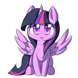 Size: 300x300 | Tagged: safe, artist:kawaiipony2, twilight sparkle, alicorn, pony, cute, female, solo, spread wings, twiabetes, twilight sparkle (alicorn), wings