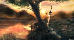 Size: 1942x1059 | Tagged: safe, artist:retsu-the-pony, oc, oc only, oc:retsu, flamberge, lake, mountain, scenery, solo, sunset, sword, tree, under the tree, weapon