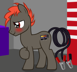 Size: 1974x1858 | Tagged: safe, artist:badumsquish, derpibooru exclusive, oc, oc only, battery charger pony, object pony, original species, pony, augmented tail, battery charger, blushing, garage, looking away, male, ponified, shop, shy, solo