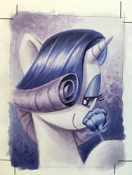 Size: 1536x2048 | Tagged: safe, artist:andypriceart, rarity, pony, unicorn, bedroom eyes, female, flower, looking at you, smiling, solo, traditional art, watercolor painting