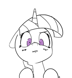Size: 1280x1383 | Tagged: safe, artist:pabbley, twilight sparkle, pony, angry, female, looking at you, partial color, shrunken pupils, simple background, solo, white background