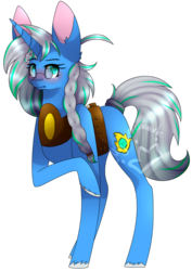 Size: 1104x1559 | Tagged: safe, artist:alithecat1989, oc, oc only, oc:cold water, pony, unicorn, female, mare, raised hoof, simple background, solo, transparent background