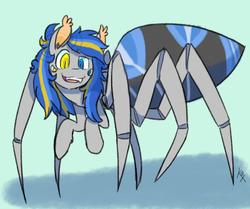 Size: 1087x907 | Tagged: safe, artist:katiex-factor, oc, oc only, monster pony, original species, spider, spiderpony, heterochromia, simple background, solo