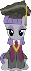 Size: 3263x7346 | Tagged: safe, artist:pink1ejack, maud pie, pony, rock solid friendship, absurd resolution, academic gown, clothes, dress, eyeshadow, female, graduation cap, hat, looking at you, makeup, simple background, sitting, solo, transparent background, vector