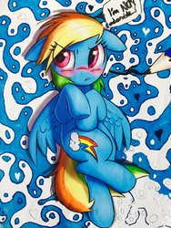 Size: 1024x1365 | Tagged: dead source, safe, artist:captainpudgemuffin, artist:project-parallel, artist:whitediamonds, rainbow dash, pegasus, pony, abstract background, blatant lies, blushing, cute, dashabetes, female, i'm not cute, on back, pencil, solo, trace, traditional art, tsunderainbow, tsundere